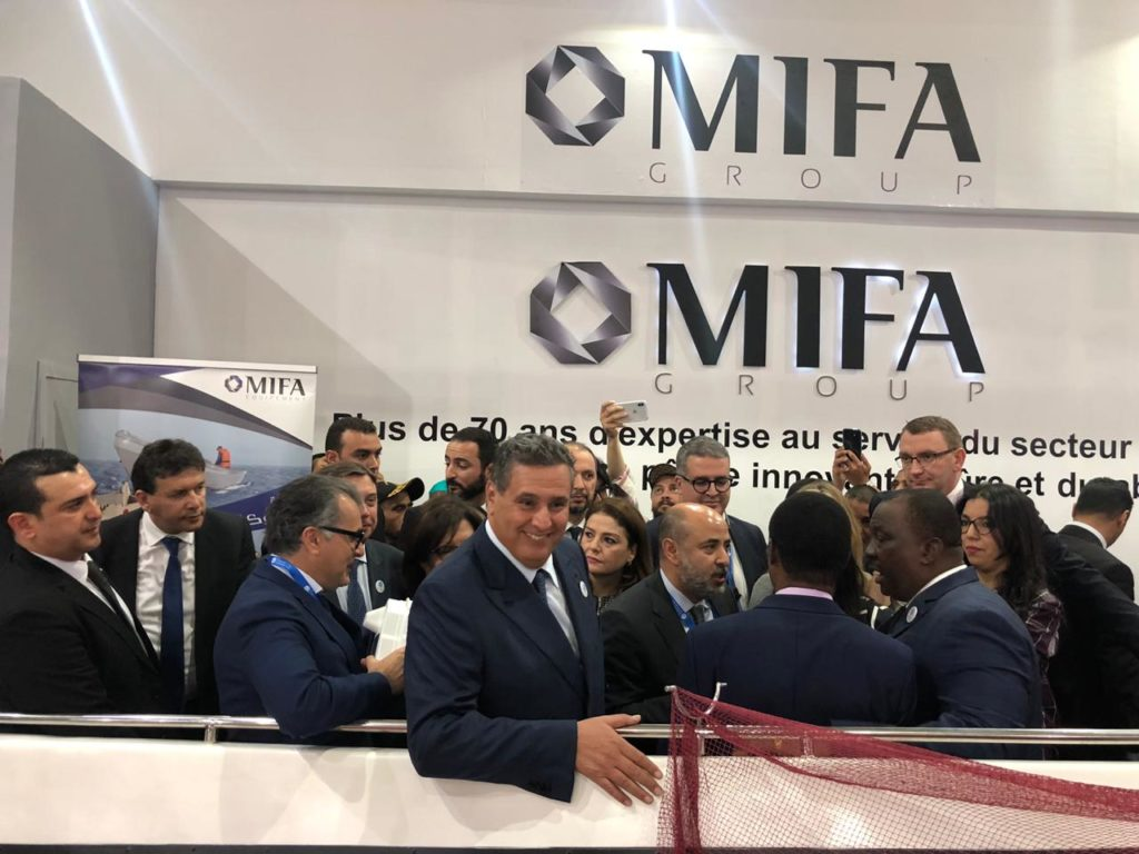 Mr. AZIZ AKHANNOUCH Minister of Agriculture and Maritime Fisheries visit our stand at the inauguration of the 5th edition of the Halieutis show: